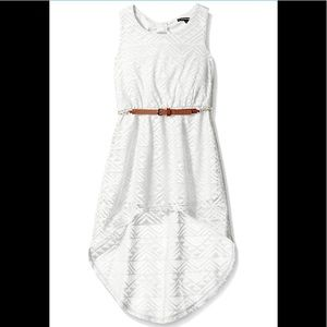 Girls Crochet High-Low Dress with Keyhole back.